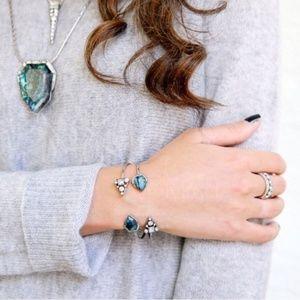 Jewelry | Open cuff silver blue bangle bracelet